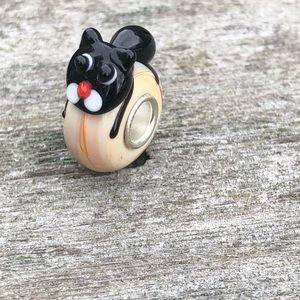 Cat charm Murano glass bracelets work w/Pandora
